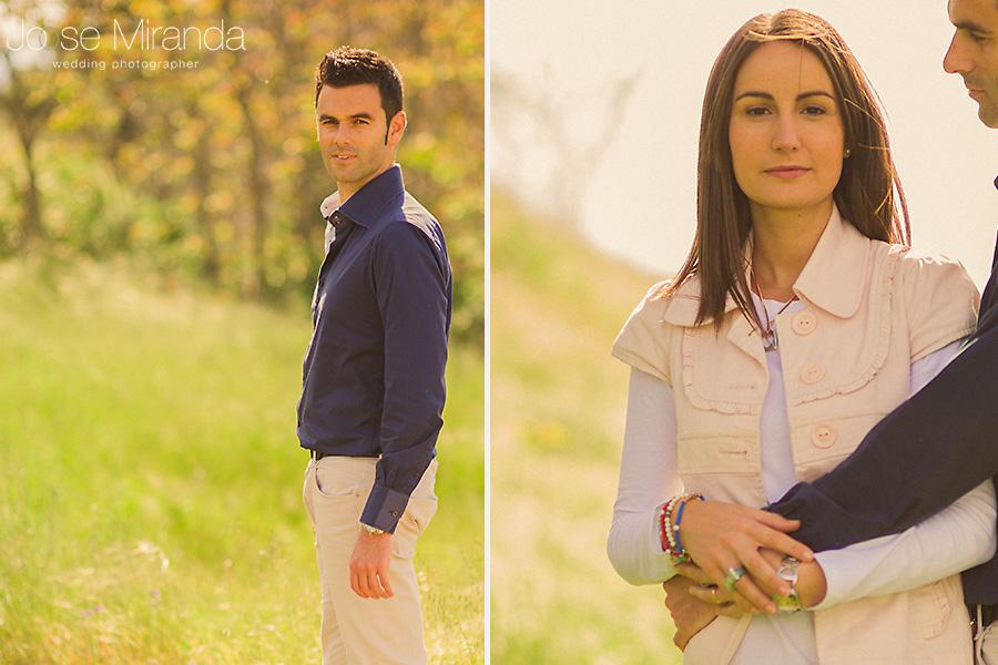 Fotografía de novios. Retrato de él y de ella. Reportaje de preboda en el campo de El Centenillo. La Carolina.