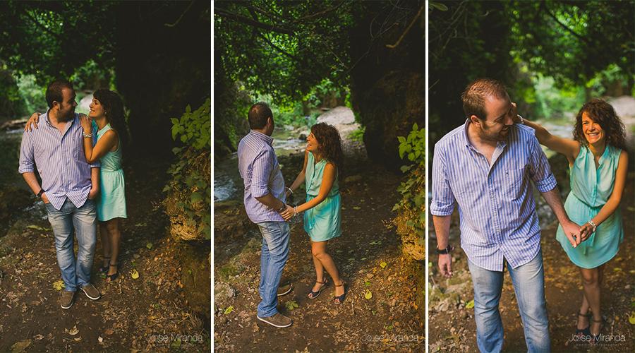Virginia y Fran riendo y jugando durante la sesión de fotos de pre-boda de Jose Miranda Fotografía en Jaén