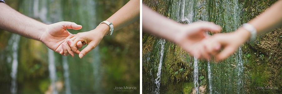 Manos enfocadas y desenfocadas durante una sesión de Fotografía de pre-boda en Valdepeñas de Jaén