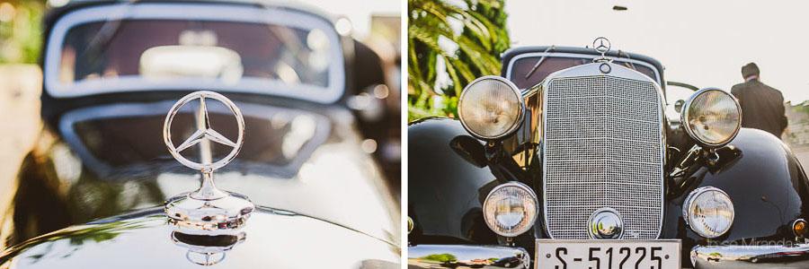 detalle de coche clásico en una boda