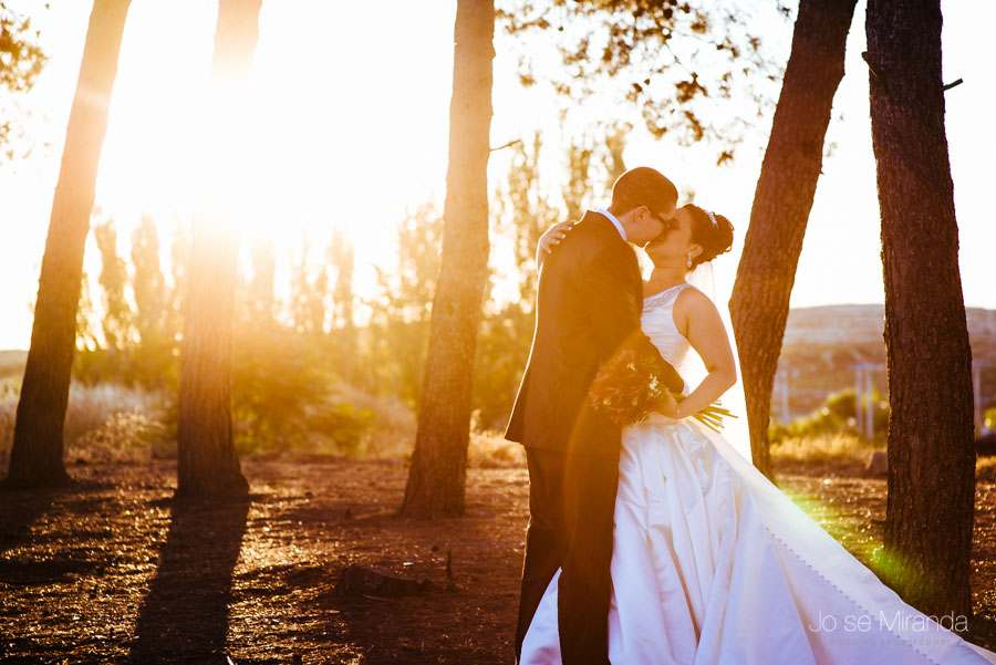 Novios besándose a contraluz entre los pinos y el atardecer en una fotografía de boda en Martos