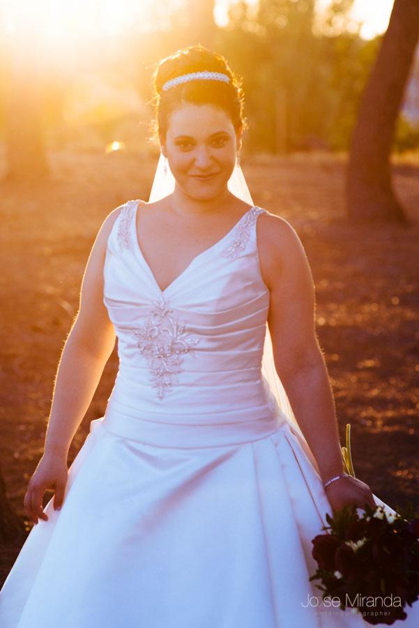 Novia a contraluz con el sol poniéndose entre el pinar
