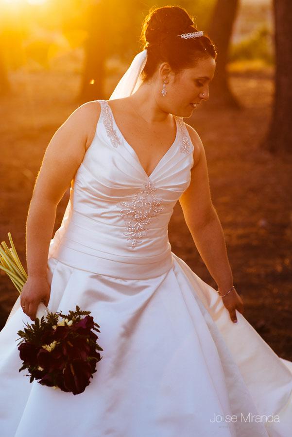 Novia colocándose el vestido entre los pinos con el flare en una fotografía de boda en Martos