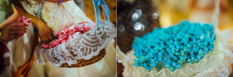 Detalle de los regalos de los novios durante la celebración de la fiesta de su boda