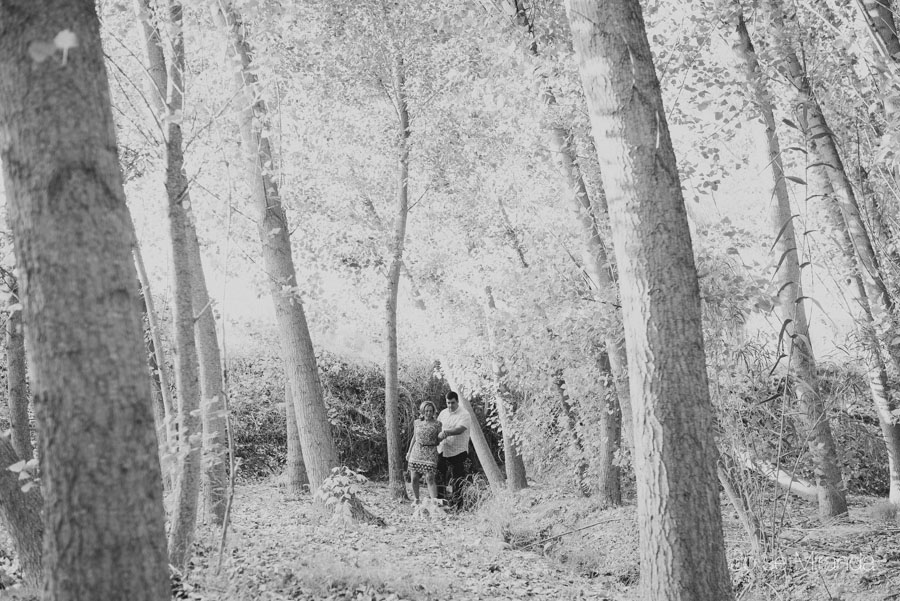 Pareja de novios de la mano pasenado entre un bosque en Jaén