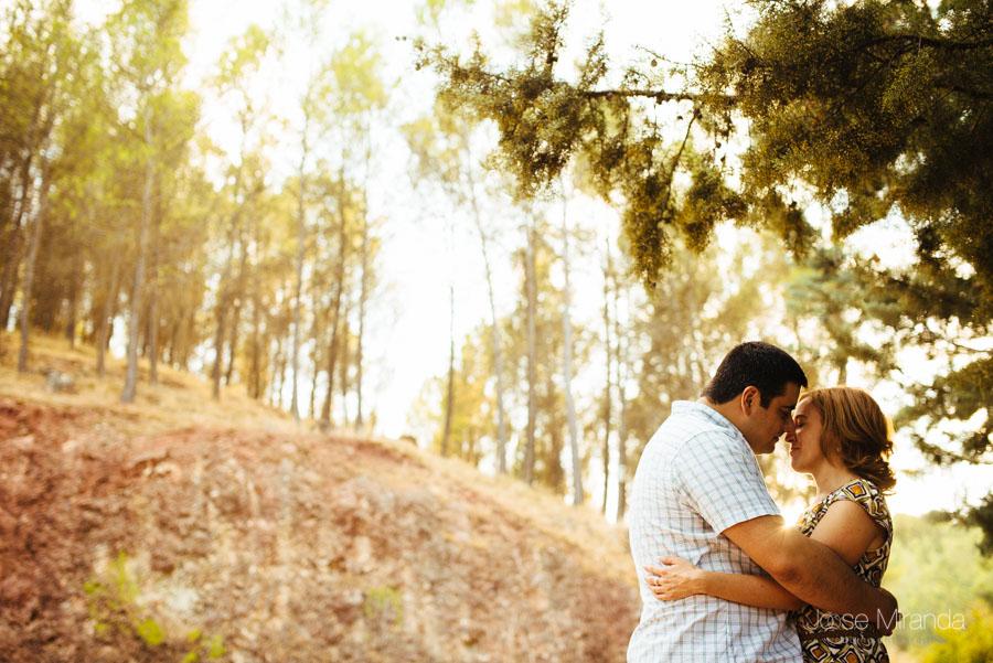 Pareja abrazada entre los arboles con el bosque desenfocado  al fondo en una fotografia de boda en Jaén