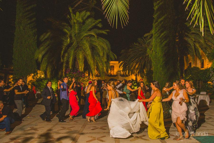 La novia y los invitados bailando en una fotografía de boda en El Madroño en Jaén de Jose Miranda