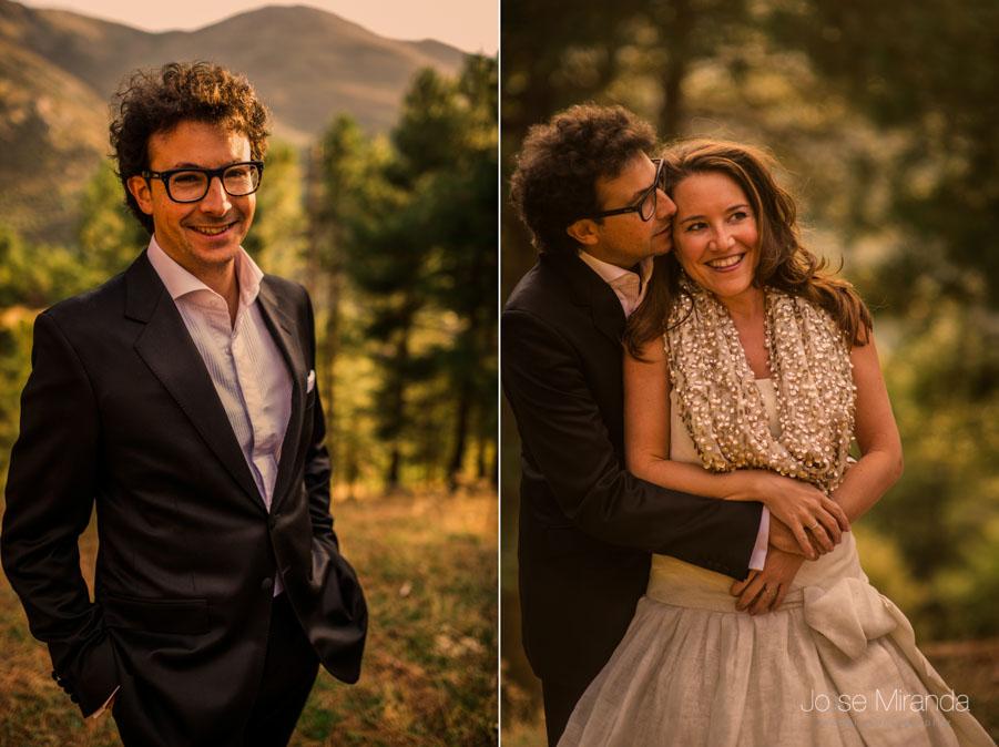 Retrato de los novios en la sesión post-boda en Jaén