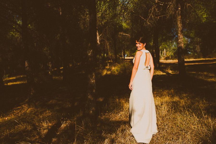 Novia entre la sombra y la luz del sol en un bosque de pinos
